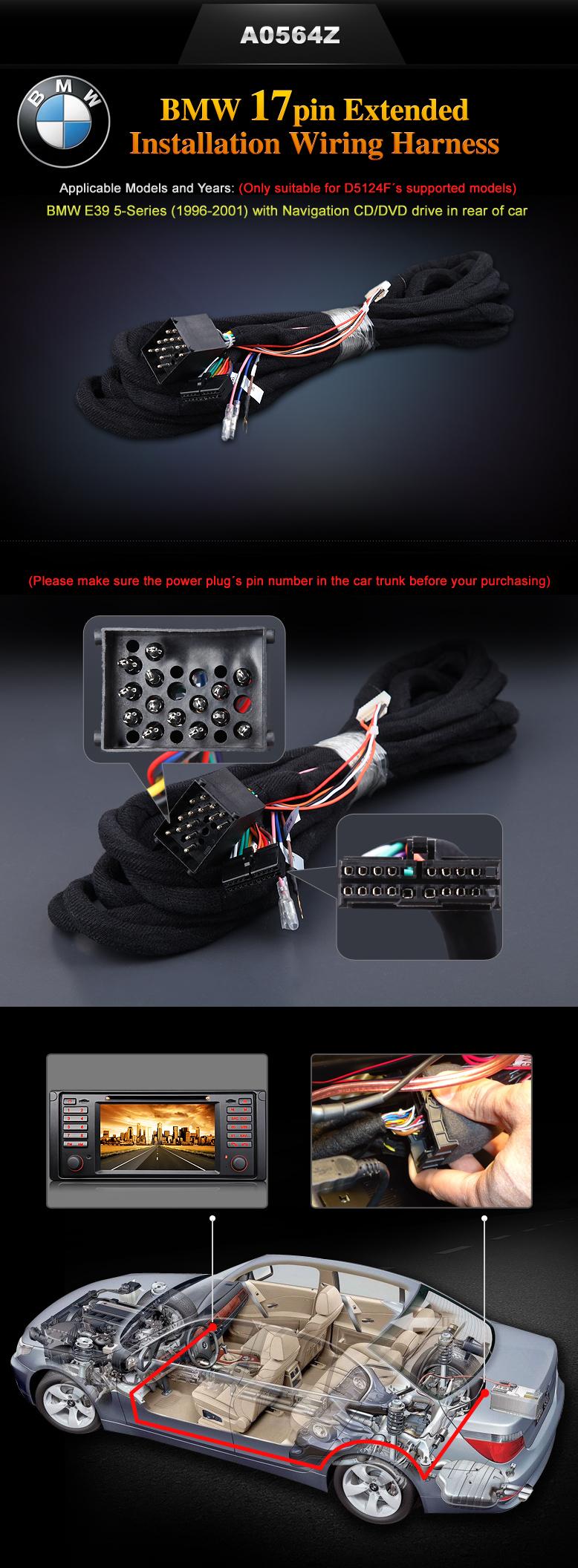 Eonon A0564z Specific Bmw Installation Wiring Harness 5 Series