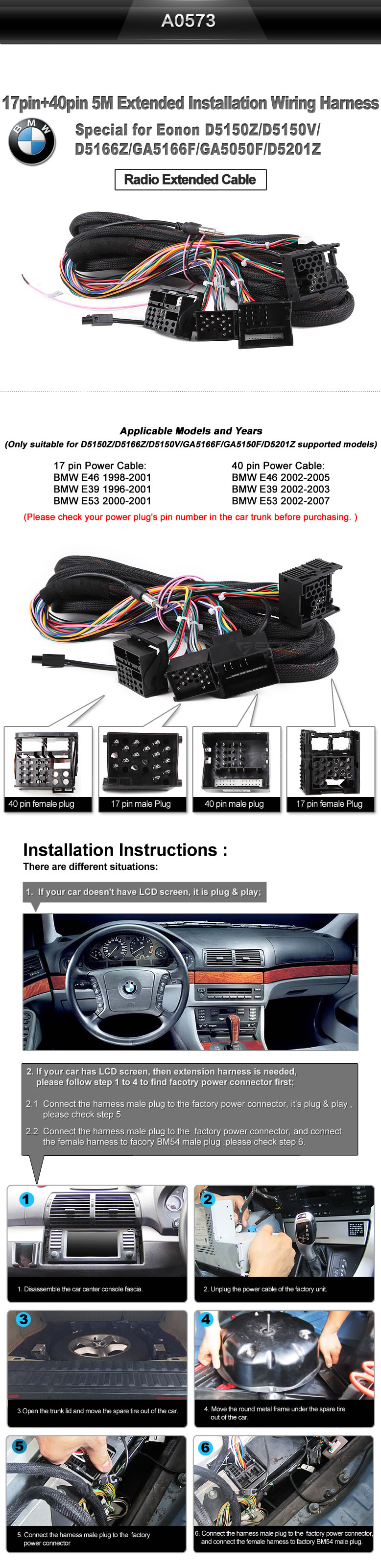 Eonon A0573 Specific Bmw Installation Wiring Harness Car Connection Shipping