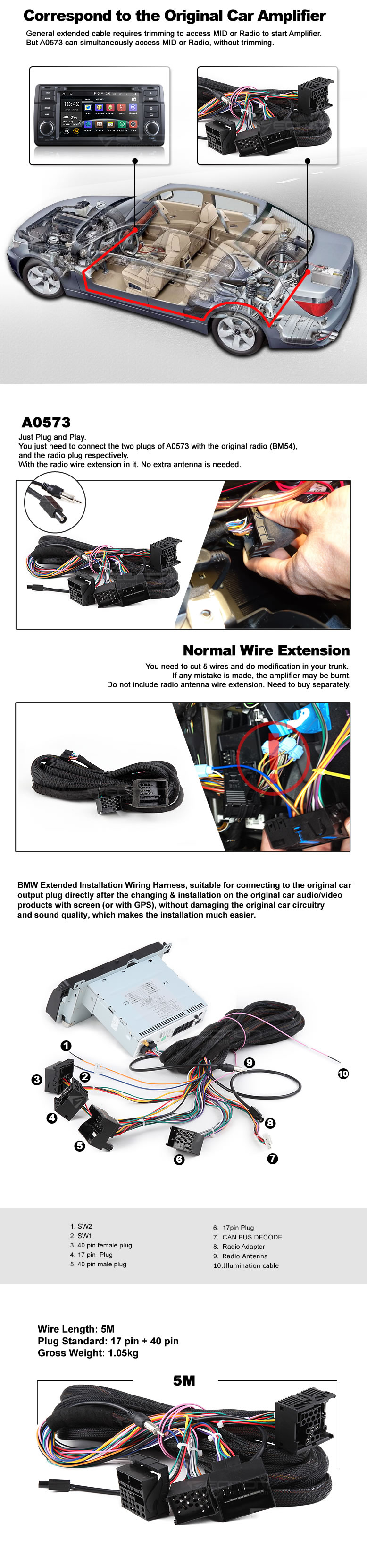 a specific bmw installation wiring harness shipping