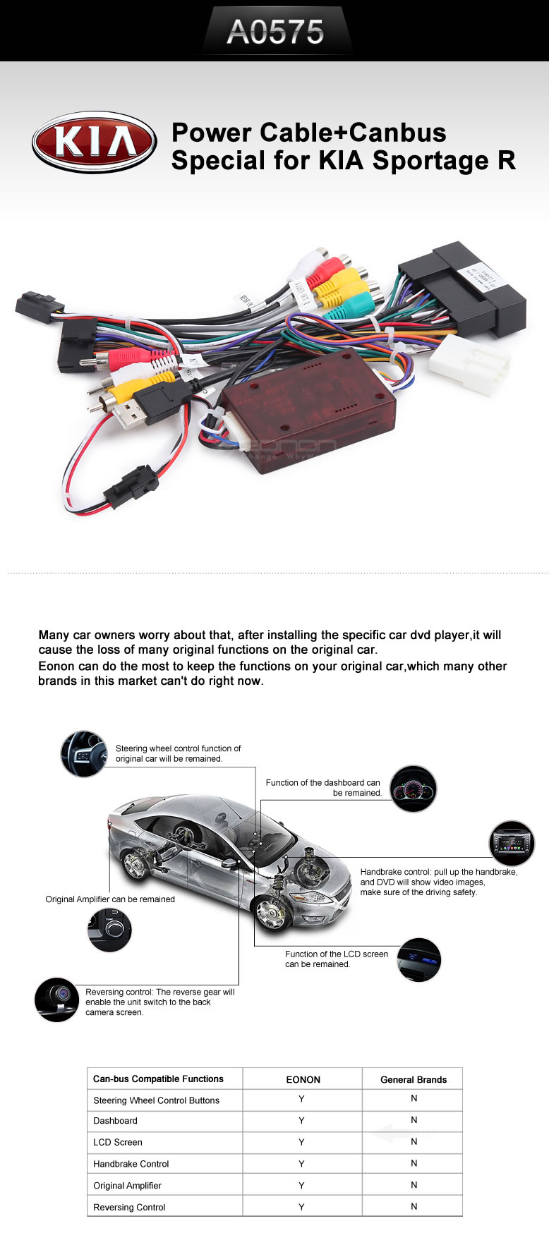 Eonon A0575 Specific Kia Sportage R Canbus And Power Cable Vauxhall Can Bus Wiring Cablecanbus For