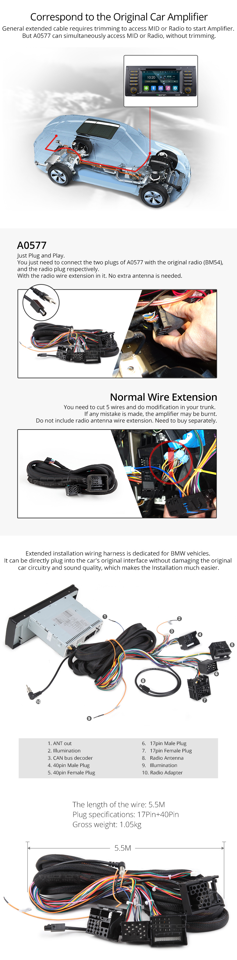 Eonon A0577 Specific Bmw Installation Wiring Harness Kit Shipping