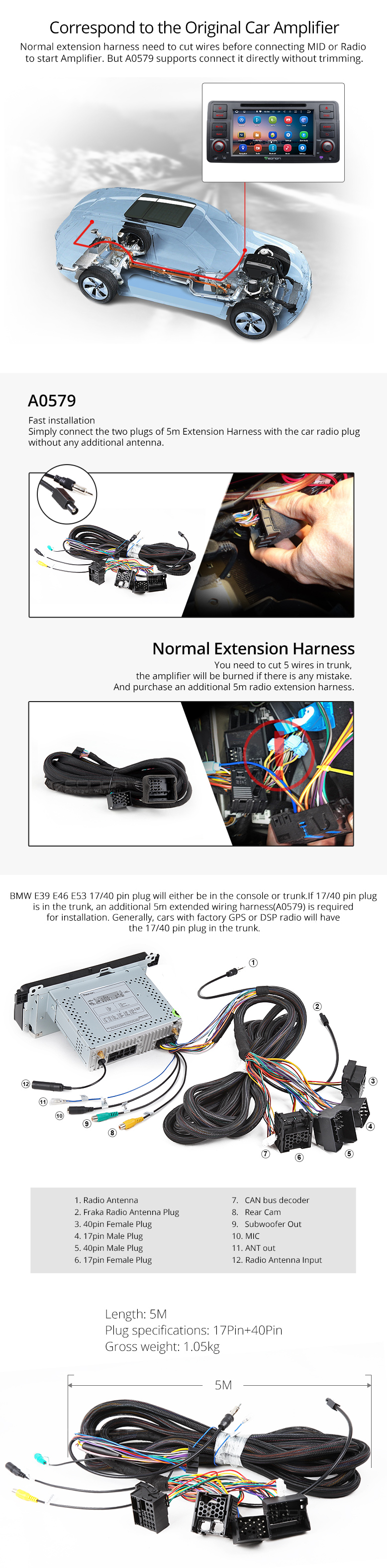 E46 Wiring Harness Bmw E39 E53 17 Pin 40 Extended Installation For Ga7150 Ga6150 Ga6166 Ga6201