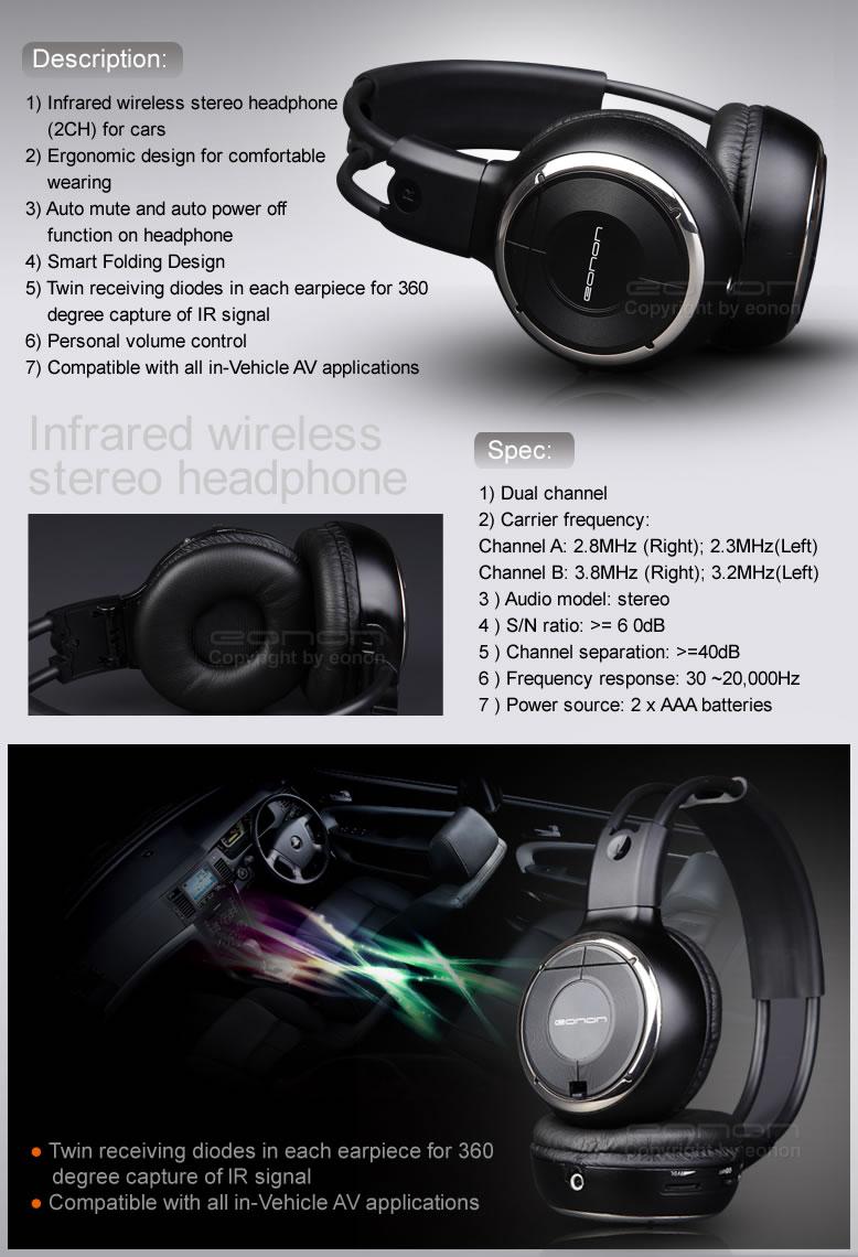 Название продукта: Беспроводной (ИК) для стереонаушников + IR Беспроводные наушники, чехол для мобильного.