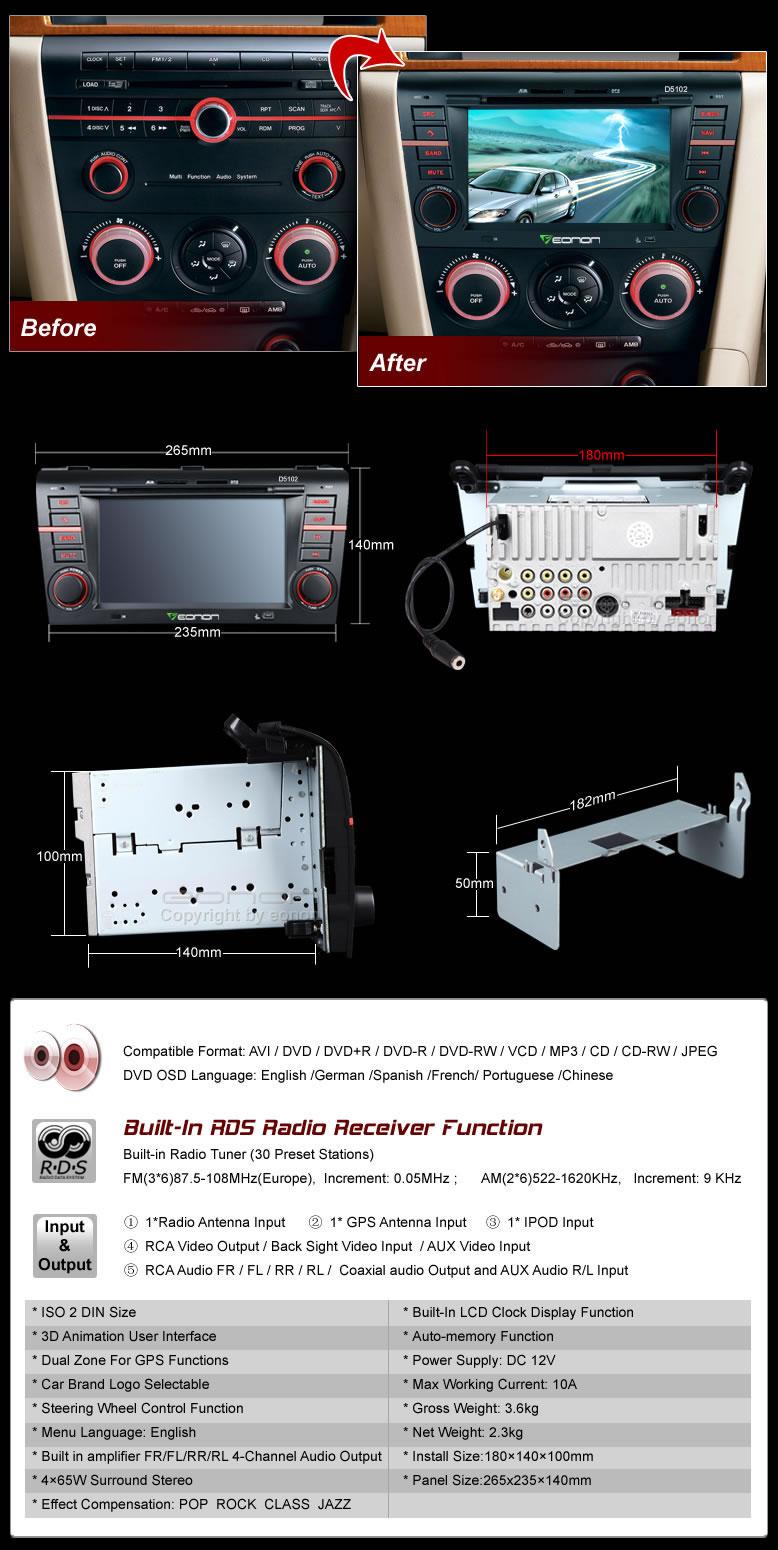 Radio DVD/GPS para Mazda Eonon D5102
