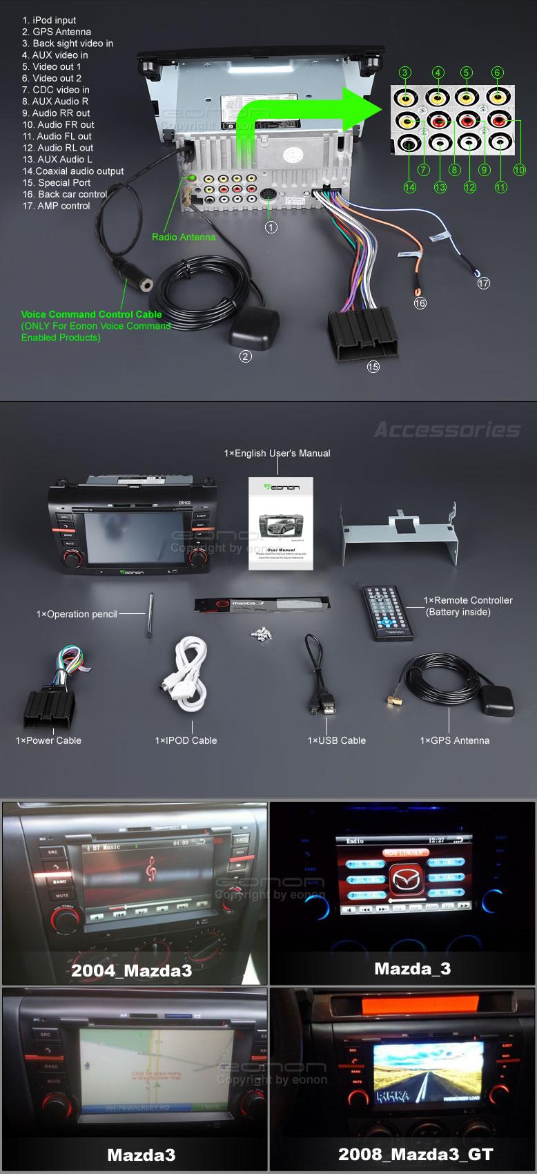 Conexiones radio GPS para Mazda 3 Eonon D5102