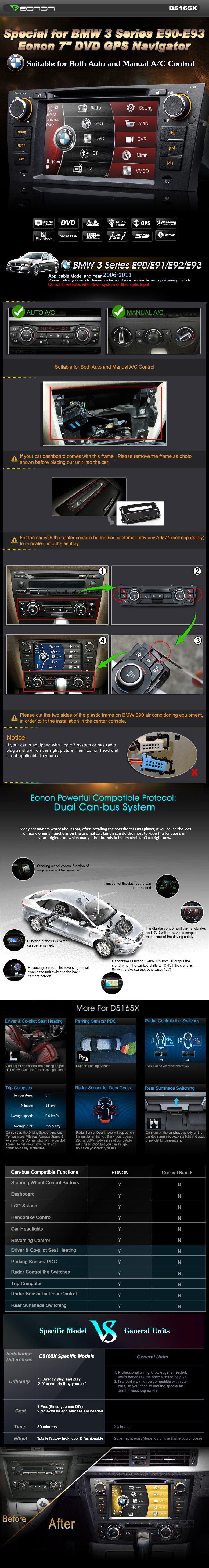 Eonon 7 Inch DVD GPS Player with Bluetooth Special for BMW 3