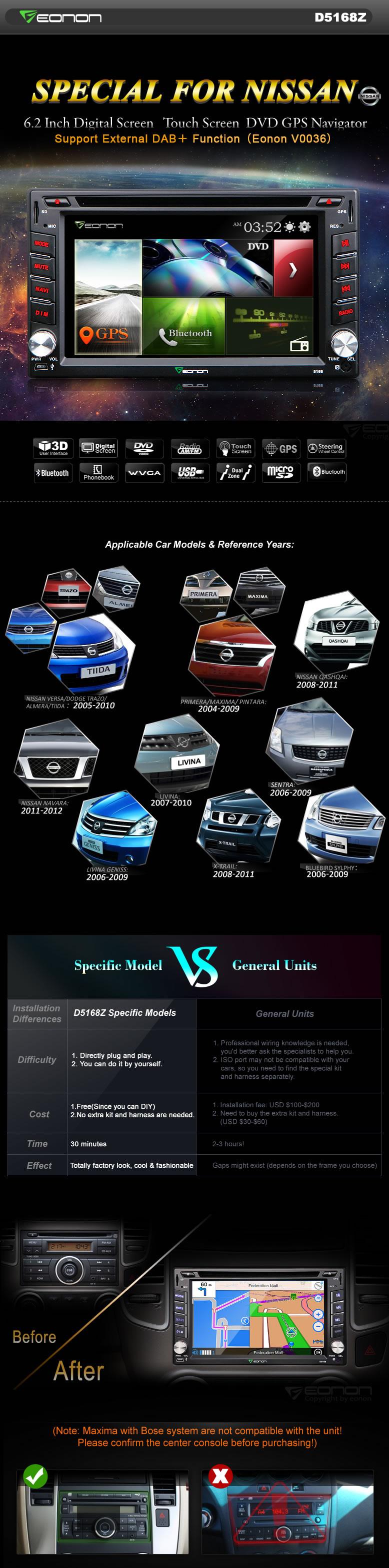 Eonon D5168z Car Dvd Specific For Nissan 2015 Versa Wiring Harness General