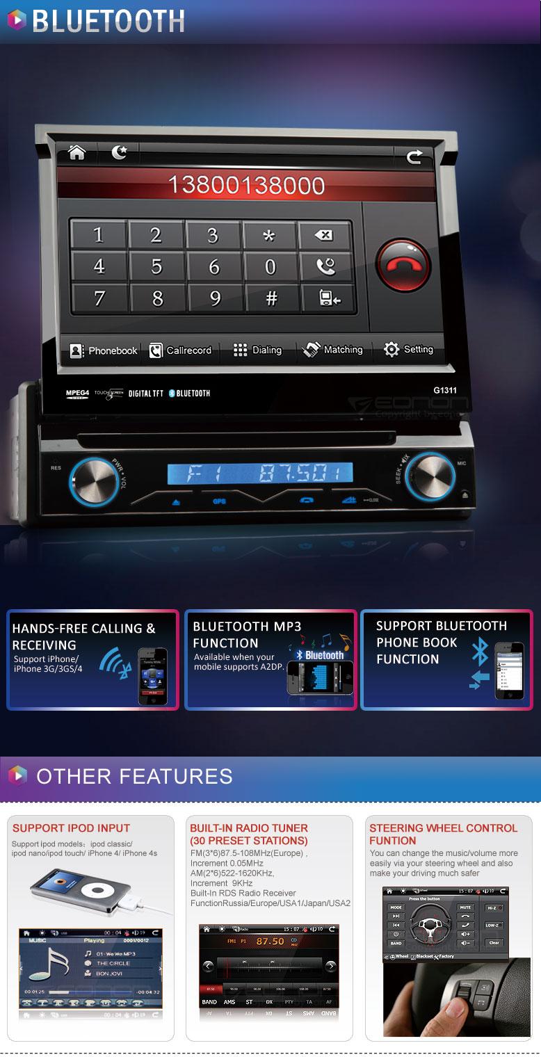 eonon g1311 autoradio universale navi gps 1din comandi al volante dvd bluetooth. Black Bedroom Furniture Sets. Home Design Ideas