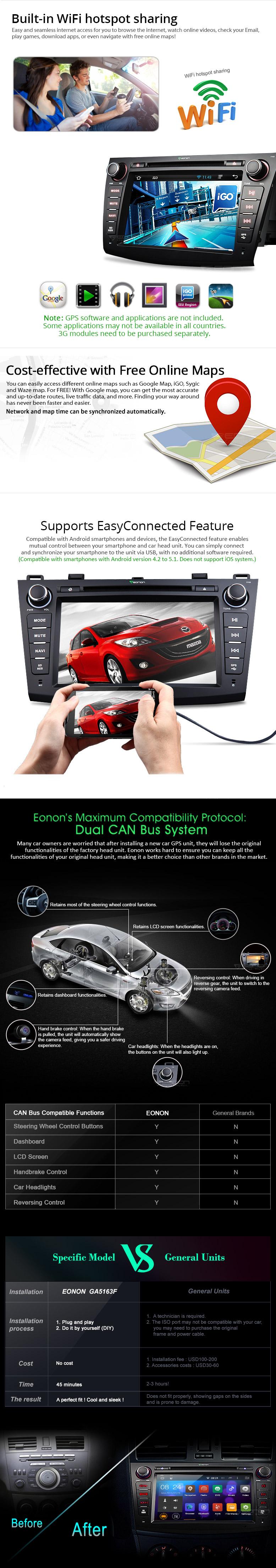 Eonon Ga5163f Mazda 3 Navigation Android Car Dvd Double Din Wire Diagram For