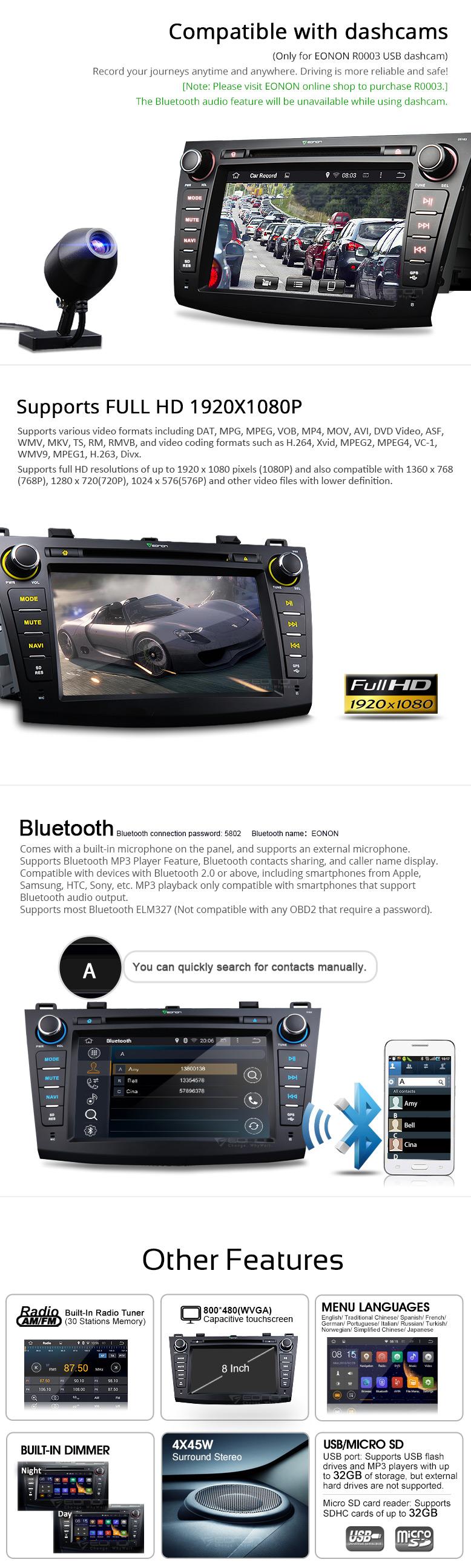 Eonon Ga5163f Mazda 3 Navigation Android Car Dvd Double Din Wire Diagram Navigationandroid Playerandroid Gps