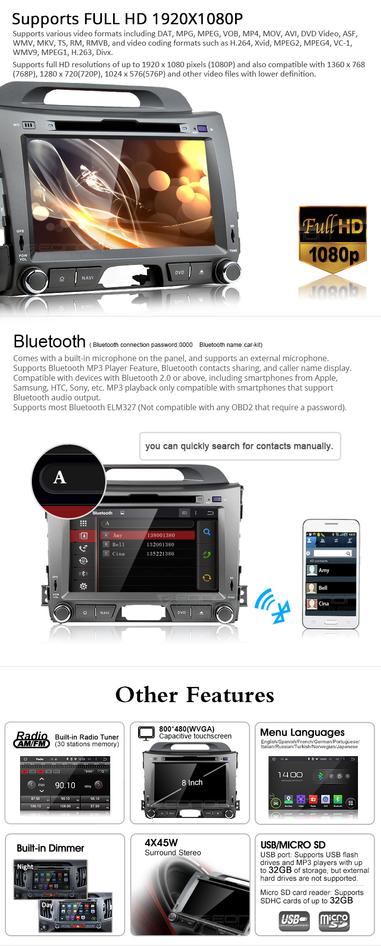 Kia android car dvd,android car stereo,car dvd player