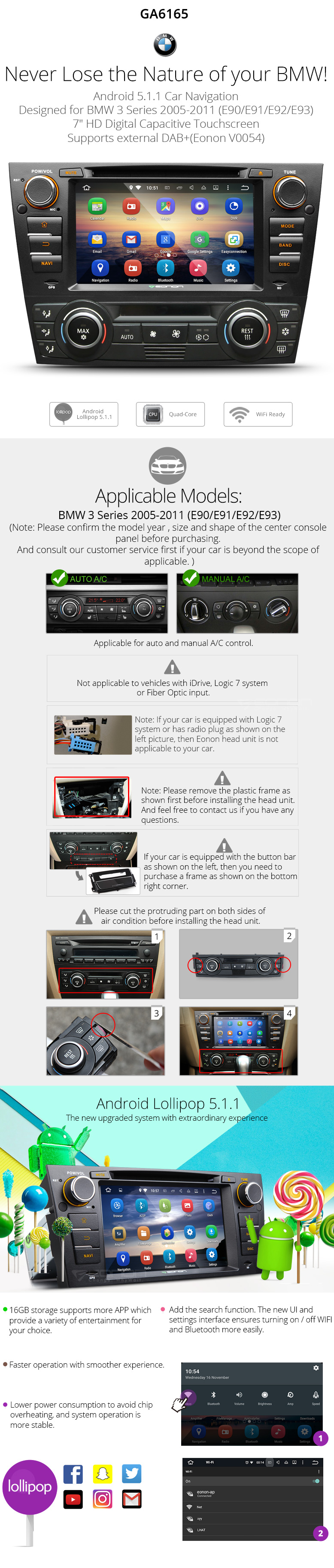 Eonon Ga6165 Bmw Android 51 Car Dvd E90 E91 E92 E93 Double Din Wire Diagram Gps Navigationandroid Playerandroid
