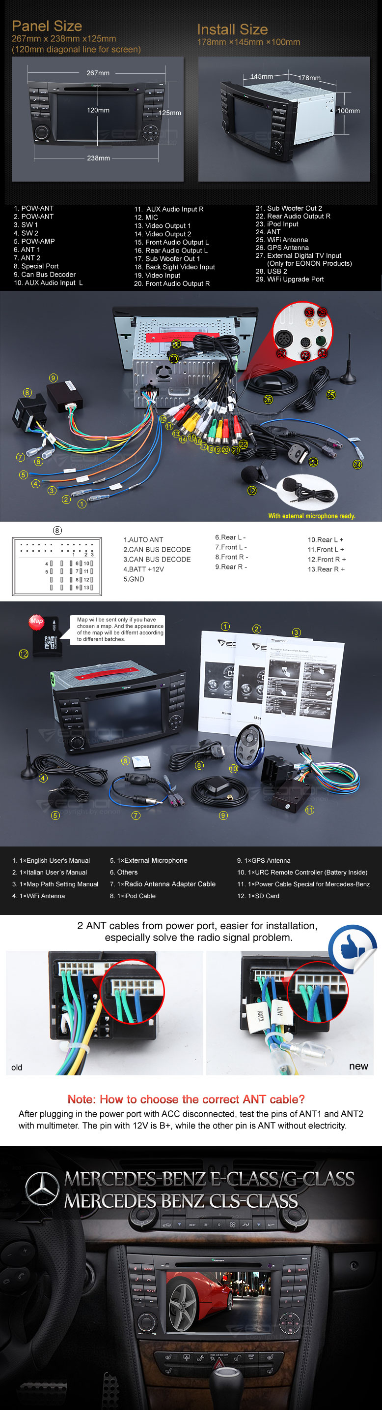 MERCEDES BENZ W211 E-Class C219 CLS-Class 7″ DIGITAL TOUCH SCREEN ANDROID  IOS MULTIMEDIA CAR DVD GPS