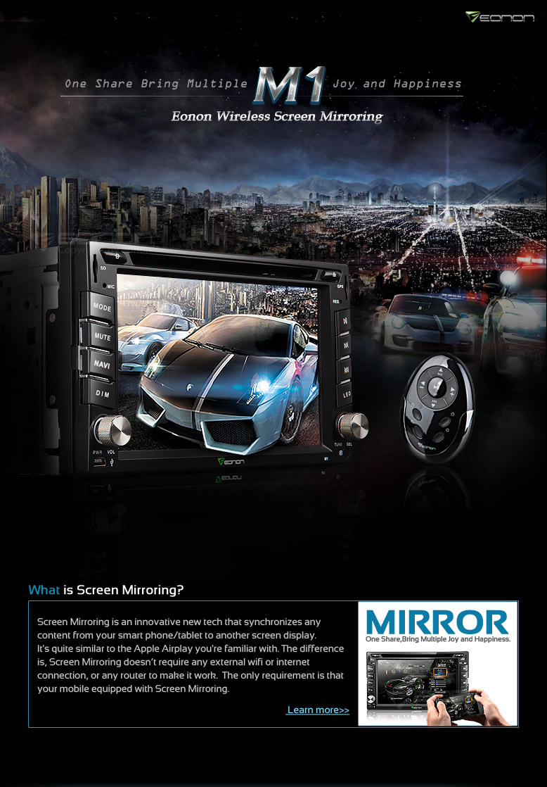 Cutting Edge Eonon M1 2 DIN Car DVD Player with Screen Mirroring (Miracast)