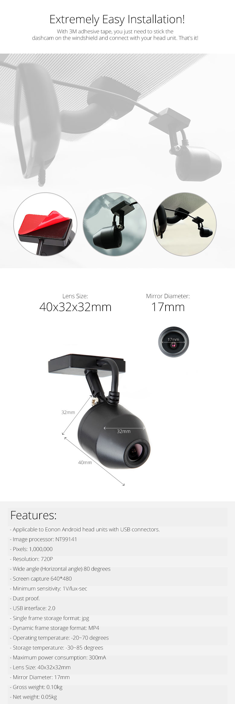 Eonon R0008 USB Type Camera for DVR Function-Waterproof, Anti-aging ...