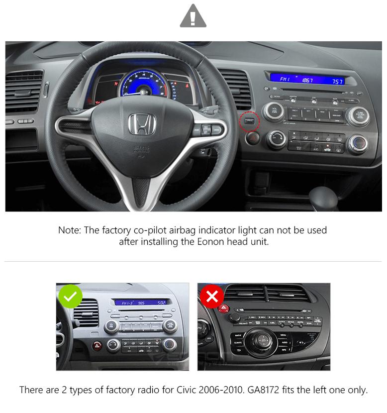 Eonon Ga8172 Honda Civic Android 71 Stereo Unit 8 Inch Rheonon: 2006 Honda Civic Radio Panel At Gmaili.net