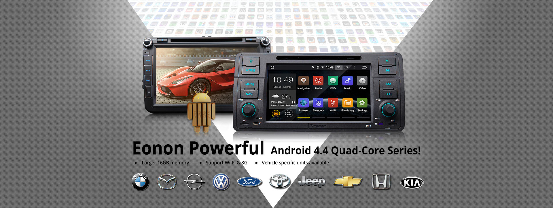 Eonon powerful android 4.4 Quad-Core Series,Eonon android car stereo,Vehicle specific units available