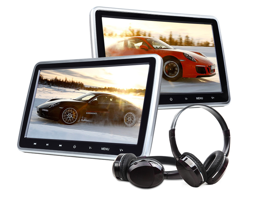 10.1″ Digital Screen Headrest Monitor with DVD Player + IR Headset Combo