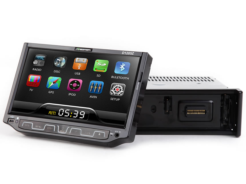 1 DIN 7 Motorized Thin Film Digital Touch Screen Car DVD Player With