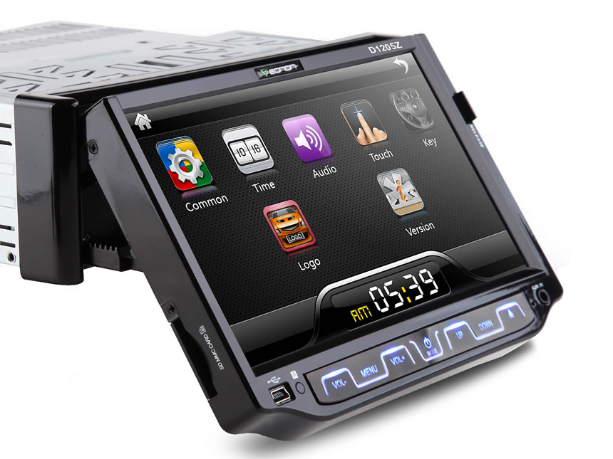 1-DIN 7″ Motorized Thin-Film Digital Touch Screen Car DVD Player with Analog TV
