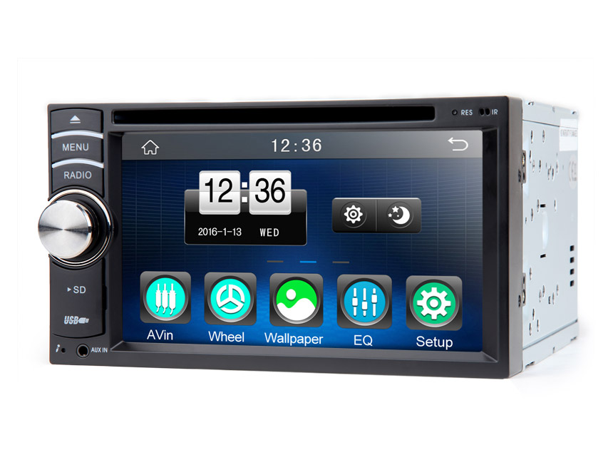 2-DIN 6.2″ Digital Touch Screen Car DVD Player with Steering Wheel Control