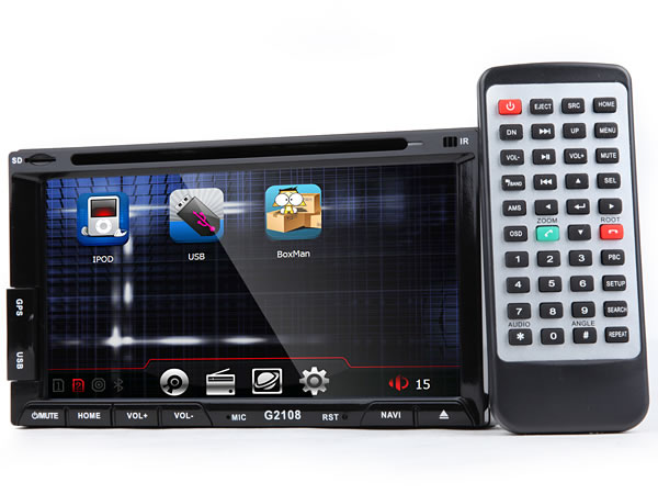2-DIN 6.95″ Digital Touch Screen Car DVD GPS with Steering Wheel Control
