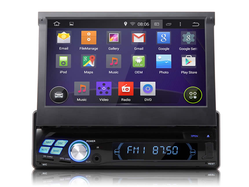 "1-DIN Android 4.4.4 Quad-Core 7"" Multimedia Car DVD GPS with Mutual Control Easy Connection"