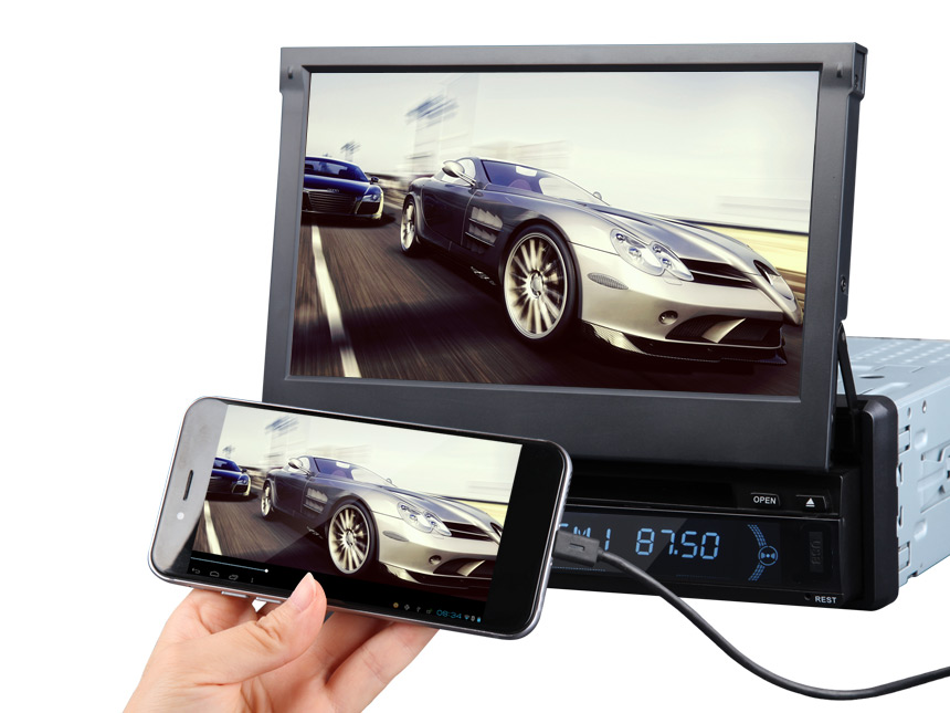 1-DIN Android 5.1.1 Lollipop Quad-Core 7″ Multimedia Car DVD GPS with Mutual Control Easy Connection