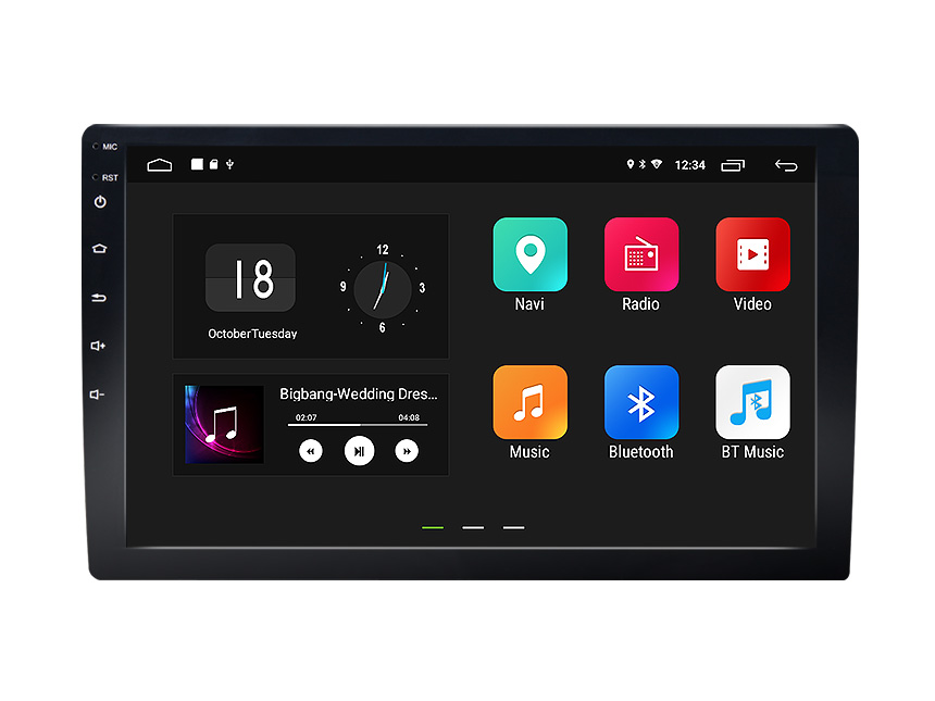 10.1 Inch Double Din Car Navigation HD Display with Android 8.1 2GB RAM Quad-Core Processor Adjustable Viewing Angle Universal Car GPS Stereo