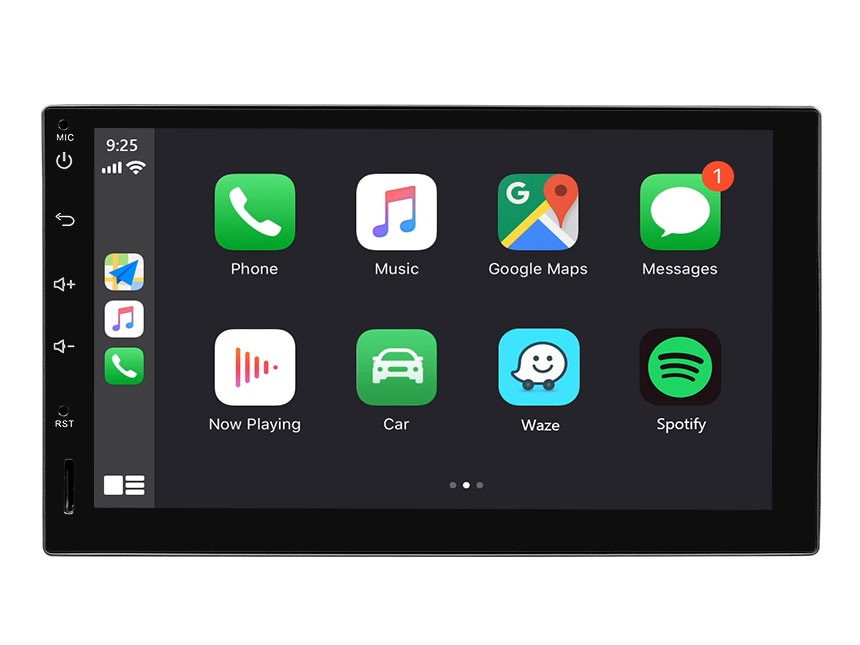 Eonon Android 9.0 Double Din Head Unit 7 Inch IPS HD Full Touchscreen Car Stereo with Built-in Apple Car Auto Play DSP Split Screen Multitasking Bluetooth Car GPS Navigation