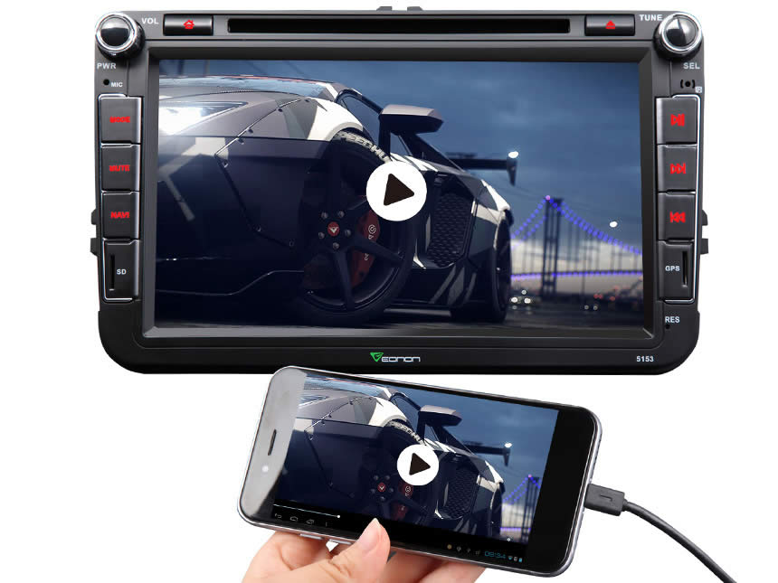 Volkswagen(VW) Android 4.4.4 Quad-Core 8″ Multimedia Car DVD GPS with Mutual Control EasyConnected