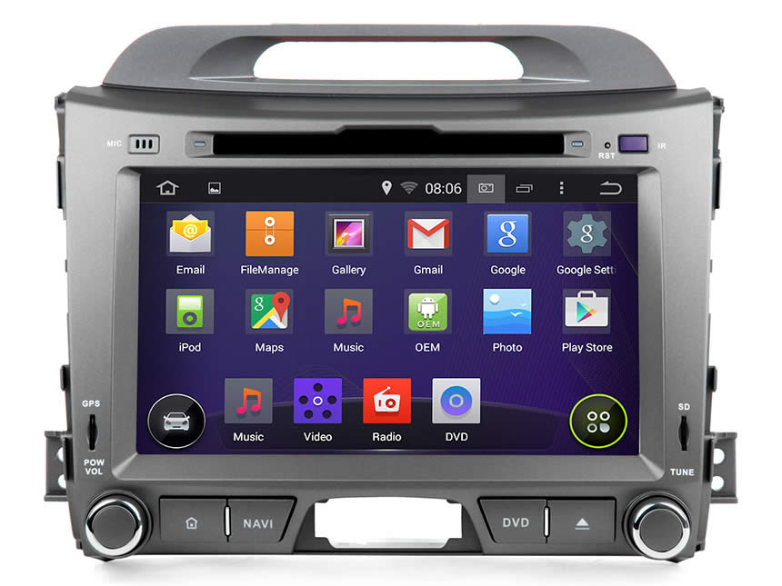 Kia Sportage Series 3 Android 4.4.4 Quad-Core 8″ Multimedia Car DVD GPS with Mutual Control EasyConnected
