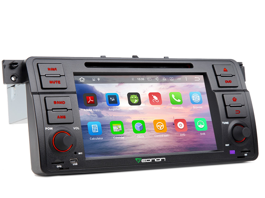 BMW E46 Android 6.0 Marshmallow 2GB RAM Octa-Core Car Stereo GPS Navigation System 7 Inch 1 Din Multimedia Car DVD Player With 32GB ROM & 26GB for App Installation Support Bluetooth Steering Wheel Control WiFi Connection
