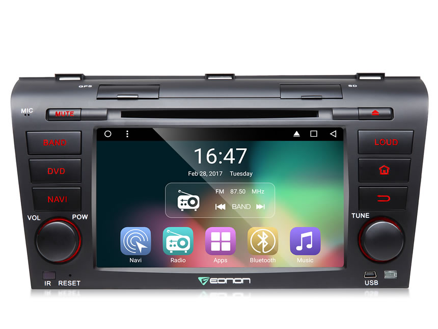 Mazda 3 2004-2009 Android 6.0 Marshmallow 7″ Multimedia Car DVD GPS with Mutual Control Easy Connection