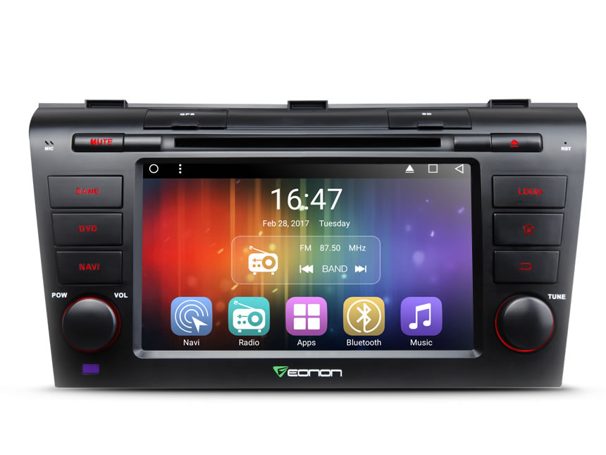 Mazda 3 2004-2009 Android 6.0 Double DIN In-Dash DVD/CD/AM/FM Car Stereo 7 Inch Touchscreen Car DVD Receiver With Bluetooth and HD Radio 2GB RAM Quad-Core Multimedia Car DVD GPS Navigation With Steering Wheel Control