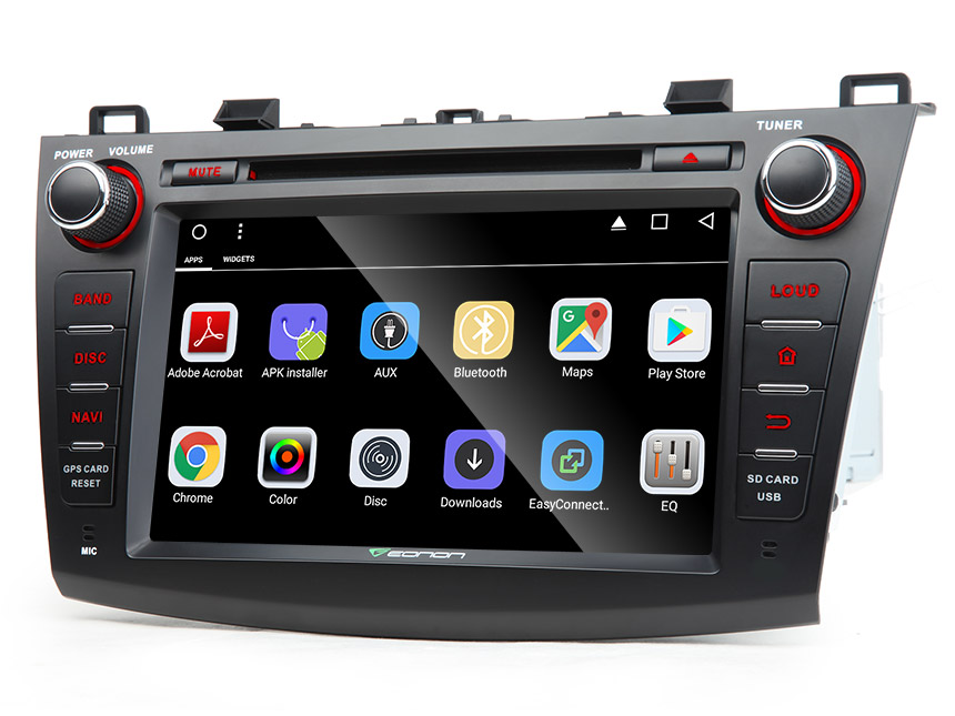 """Mazda 3 2010 - 2013 Android 6.0 Head Unit 1024x600 HD Multi-touch Screen 8"""" Bluetooth Car Stereo with Built in Wi-Fi Auto Radio Steering Wheel Control Supports Subwoofer Audio Output Phone Mirroring"""