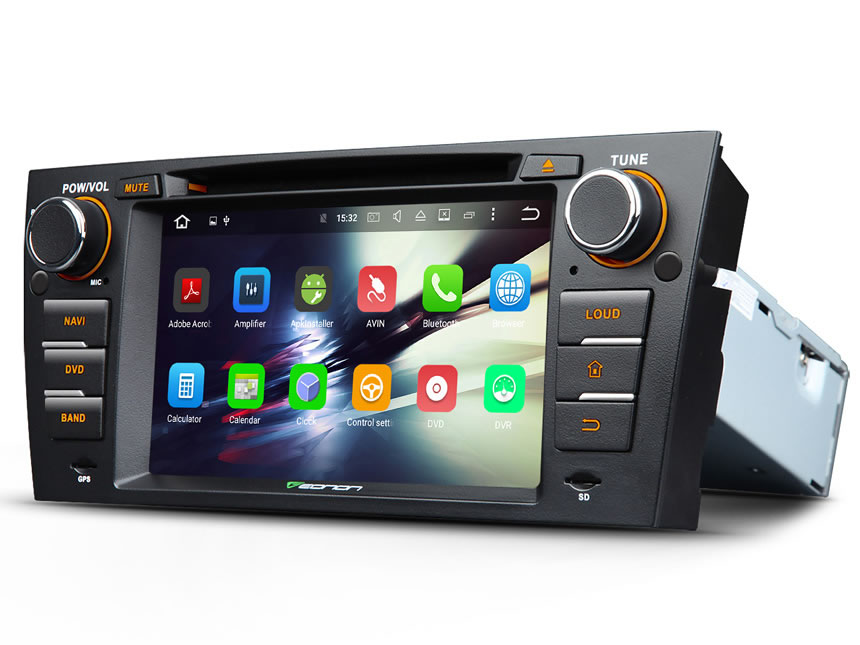 BMW E90/E91/E92/E93 Android 6.0 Car DVD Radio Player With Built-in Bluetooth 7 Inch HD Touchscreen 1 DIN In-Dash DVD/CD/AM/FM Car Stereo Receiver With Steering Wheel Control Octa-core 2GB RAM Car Head Units GPS Navigation System With Subwoofer Audio Output DAB+ Digital Radio