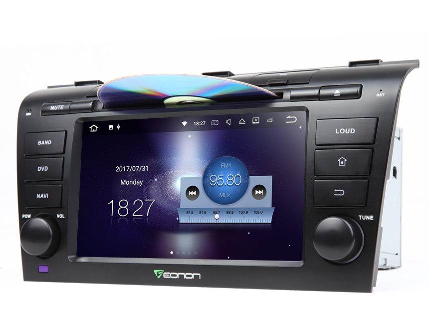 Mazda 3 2004-2009 7 Inch 2GB RAM Head Unit Android 7.1 Nougat Quad-Core Auto Radio with 1024x600 HD Screen Steering Wheel Control Integration Car GPS Navigation Compatible with your Analog Bose System Split Screen Mode