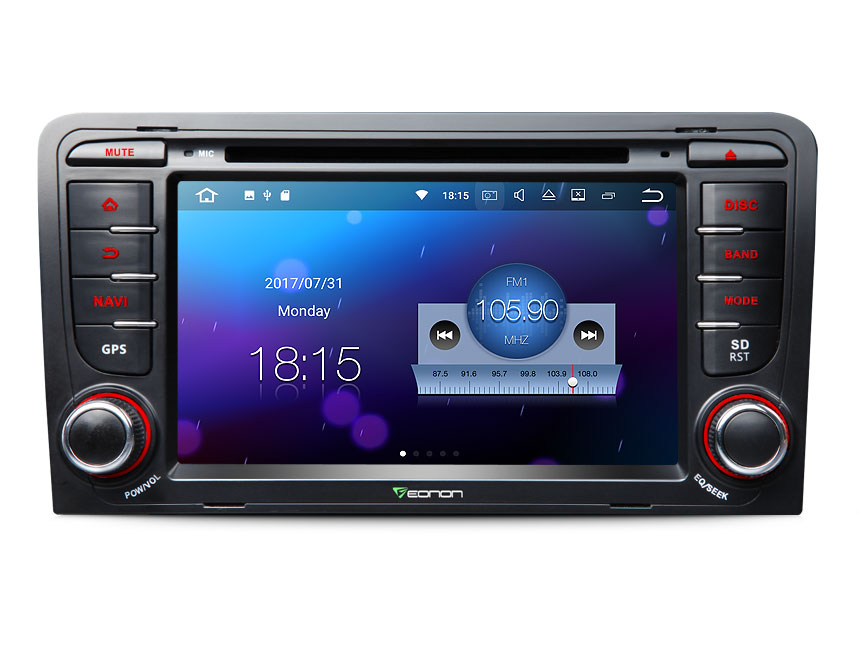 Audi A3/S3 Android 7.1 Nougat System Double Din Car Stereo 2GB RAM Quad-Core Car GPS Navigation HD 7 Inch Touch Screen Bluetooth Car Radio Receiver With HDMI Output and Split Screen