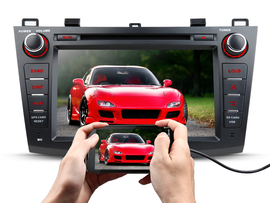 "Mazda 3 2010 - 2013 Double DIN 8"" Android 7.1 HD Digital Multi-touch Screen 1080P Video Indash Head Unit Split-screen Mode HDMI Output Transmits Radio Receiver GPS Car Audio Bluetooth DAB+ with More Entertainment"