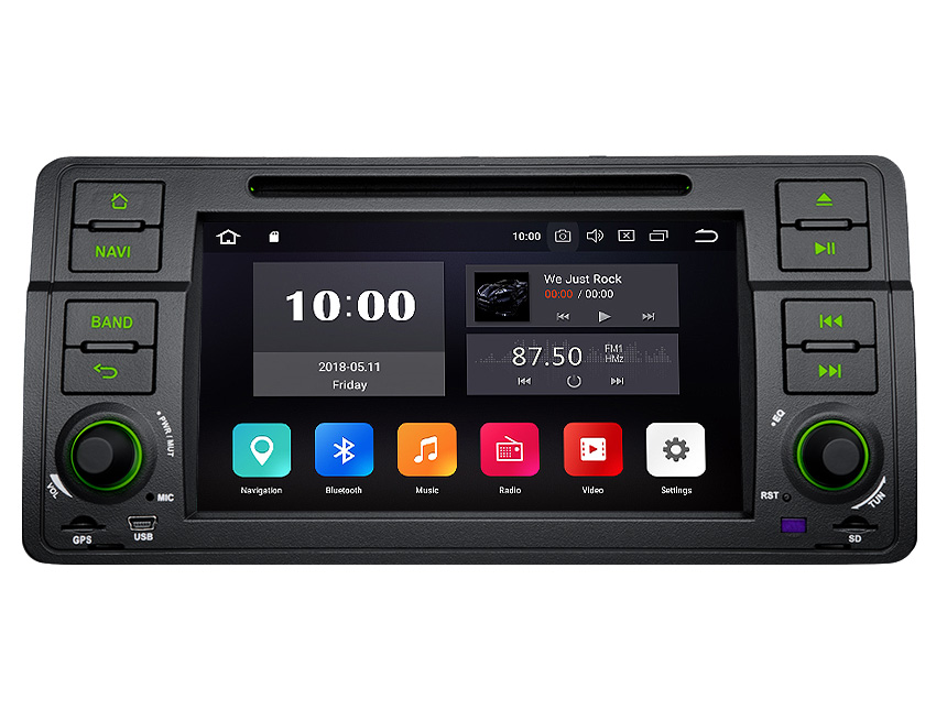BMW E46 Android 8.0 Octa-Core 4GB RAM Car Radio GPS Navigation System 7 Inch 1 Din Multimedia Car DVD CD Player For Support Bluetooth WiFi Connection 4G Dongle Split Screen Steering Wheel Control Split Screen and PIP Multitasking