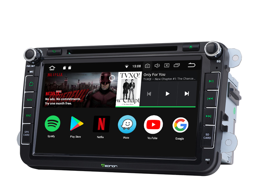 Designed for Volkswagen/SEAT/SKODA Android 8.0 Oreo 4G RAM High-end Rockchip Processor, Octa-Core & 32G ROM Split Screen and PIP Multitasking Compatible with Fender System