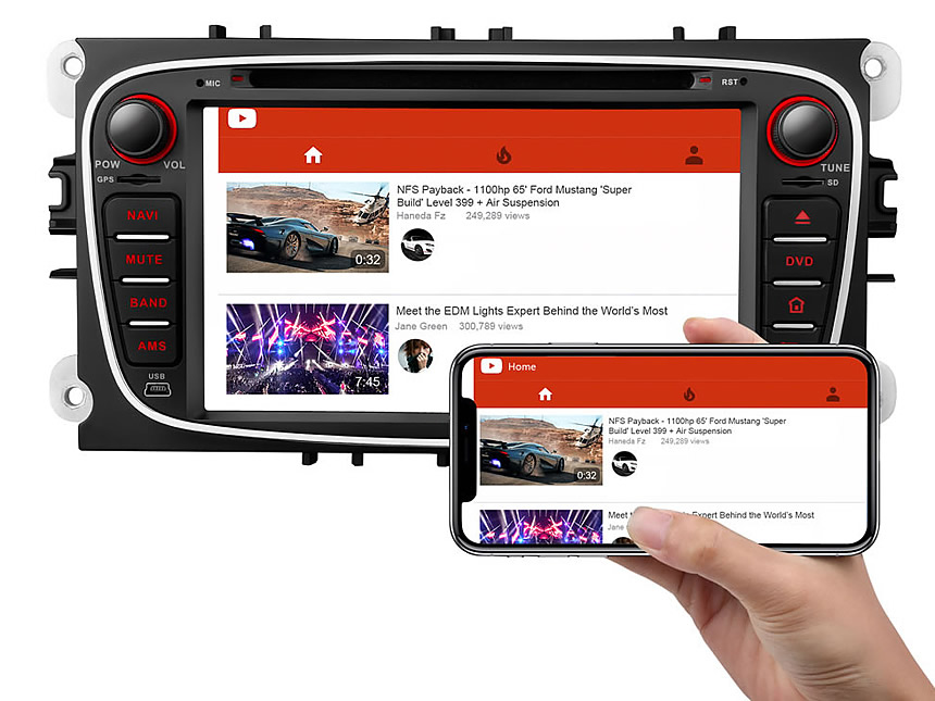 Designed for Ford Mondeo/Focus/S-max Android 8.0 Oreo 4G RAM, Octa-Core & 32G ROM Split Screen and PIP Multitasking