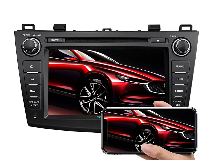 Mazda 3 2010-2013 Android 8.1 2GB RAM & Quad-Core Processor 8 Inch HD Touchscreen Stereo Compatible With Bose System In-dash Head Unit Support Split Screen Multitasking Bluetooth Connection 4G Dongle