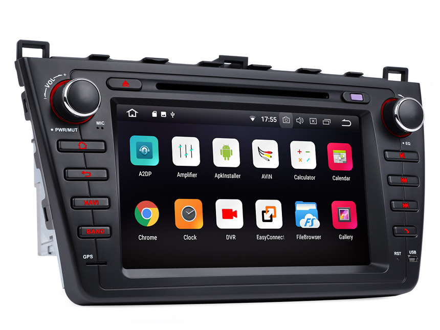 Mazda 6 2009-2012 Android 8.0 Oreo 4G RAM, Octa-core & 32G ROM Split Screen and PIP Multitasking Faster Than Ever Before Double Din Touch Screen Car DVD Player Car GPS Navigation