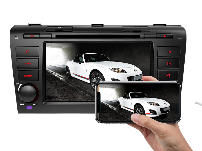 Mazda 3 (2004-2009) Android 8.1 2G RAM, Quad-Core & 32G ROM Double Din Car GPS Navigation Compatible With Bose System 7 Inch Touchscreen Car DVD Receiver Support Bluetooth 4G Dongle WiFi Steering Wheel Control