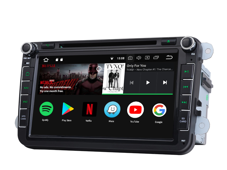 Volkswagen/SEAT/SKODA Android 8.1 2G RAM, Quad-Core & 32G ROM 8 Inch HD Touchscreen Double Din Car GPS Navigation Compatible with Fender System Support Bluetooth 4G Dongle WiFi Steering Wheel Control