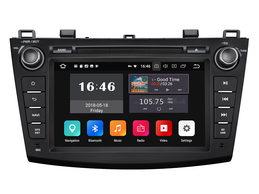 Mazda 3 2010-2013 Android 8.1 2G RAM, Quad-Core & 32G ROM 8 Inch HD Touchscreen Double Din Car GPS Navigation Bluetooth Connection Compatible with Bose System 4G Dongle WiFi Steering Wheel Control