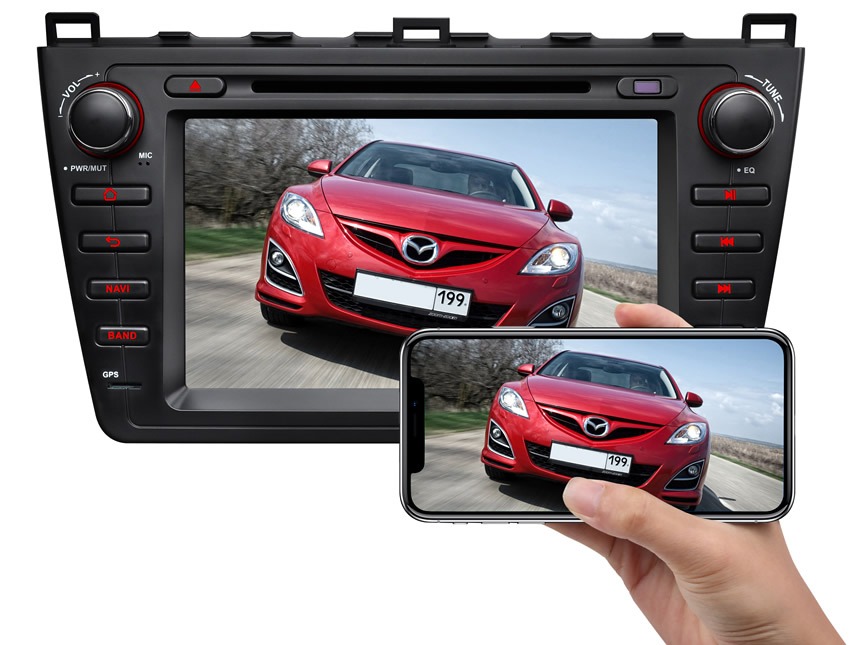 Mazda 6 2009-2012 Android 8.1 2G RAM, Quad-Core & 32G ROM 8 Inch HD Touchscreen Double Din Car GPS Navigation Compatible with Bose System Support Bluetooth 4G Dongle WiFi Steering Wheel Control
