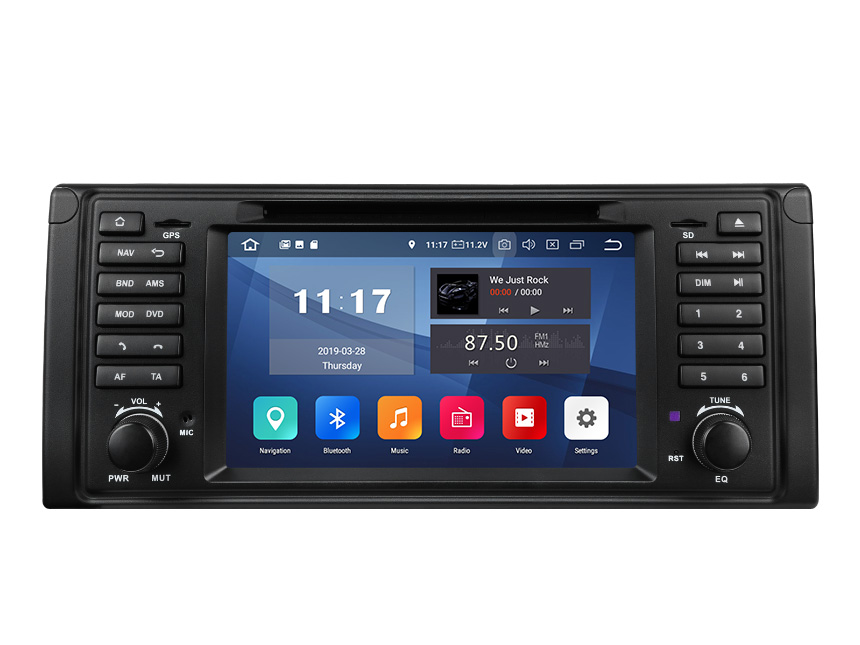 BMW E39 1995-2002 Android 9.0 Pie Car Stereo 2GB RAM 32G ROM Quad-Core Processor Bluetooth 5.0 Car GPS Navigation System 7 Inch HD Capacitive Touchscreen Entertainment Radio Car DVD Player Compatible With 4G WiFi Connection Steering Wheel Control